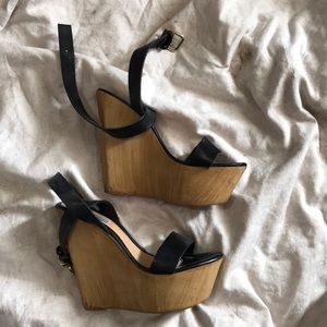 Steve Madden Wedges with leather wrap buckle